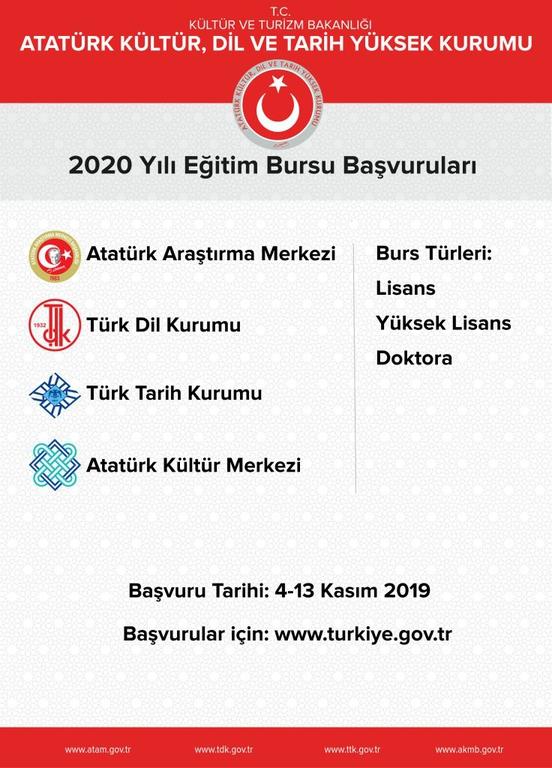 Atatürk Araştırma Merkezi, Türk Dil Kurumu, Türk Tarih Kurumu ve Atatürk Kültür Merkezi Burs Başvuruları